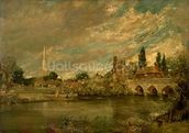 The Bridge of Harnham and Salisbury Cathedral, c.1820 mural wallpaper thumbnail