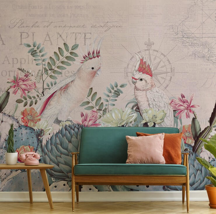 pink and white cockatoos wallpaper in lounge with teal and orange couch