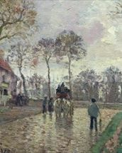 The Coach to Louveciennes, 1870 (oil on canvas) wallpaper mural thumbnail