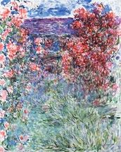 The House at Giverny under the Roses, 1925 (oil on canvas) wallpaper mural thumbnail