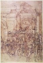 W.29 Sketch of a crowd for a classical scene mural wallpaper thumbnail