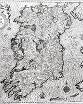 The Kingdom of Ireland, engraved by Jodocus Hondius (1563-1612), Theatre of the Empire of Great Britain, pub. by John Sudbury and George Humble, 1611-12 (engraving) (b&w photo) (see 108099 for detail) wall mural thumbnail