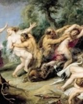 Diana and her Nymphs Surprised by Fauns, 1638-40 (oil on canvas) wallpaper mural thumbnail