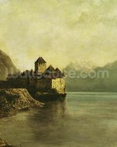 Chateau de Chillon, 1874 (oil on canvas) mural wallpaper thumbnail