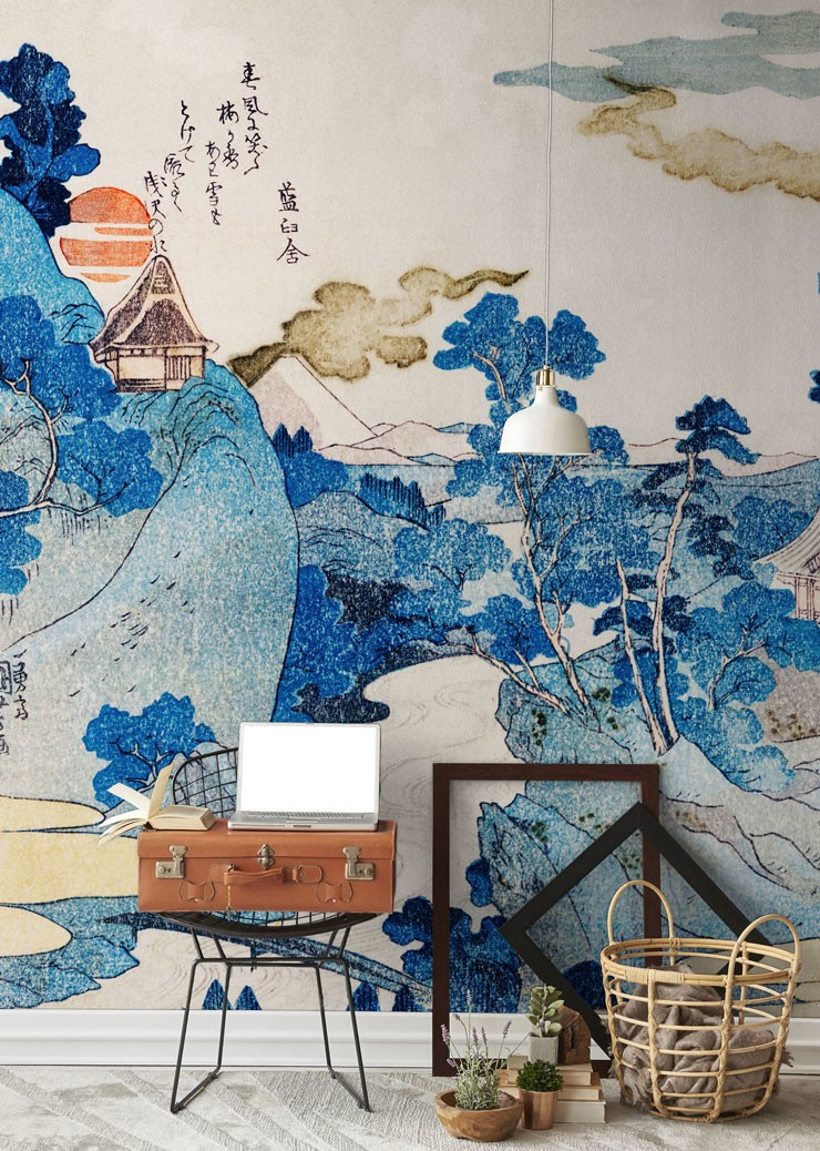 blue, white and orange oriental landscape wall mural in travel themed room
