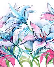 Lily Flowers wallpaper mural thumbnail