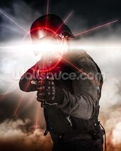 Soldier aiming assault rifle laser sight wall mural thumbnail
