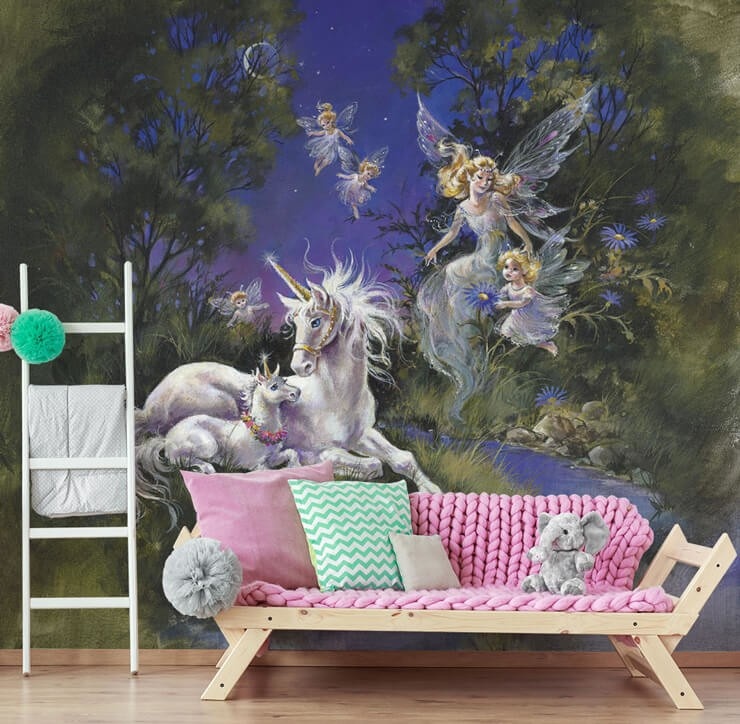 flying fairy mum and daughters and unicorn and foal vintage illustration wallpaper in child's bedroom with pink and green couch