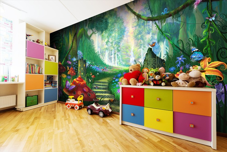 Magical-fantasy-mural-in-children's-playroom