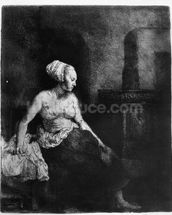 Woman sitting half-dressed beside a stove, 1658 (etching) mural wallpaper thumbnail