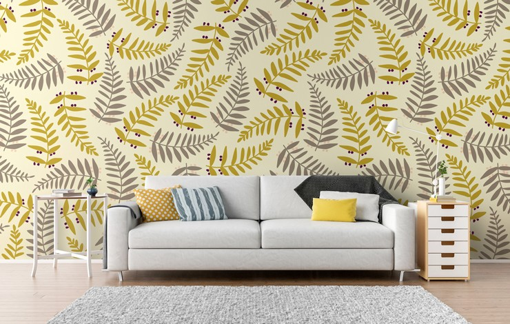 grey and mustard leaves wallpaper in minimalist lounge