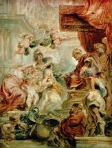 The Union of the Crowns, 1630-34 (oil on canvas) mural wallpaper thumbnail