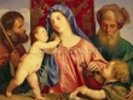 Madonna of the Cherries with Joseph, St. Zacharias and John the Baptist (panel) wall mural thumbnail