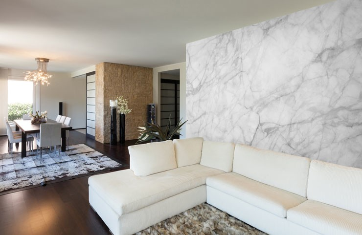 white marble wallpaper in long lounge