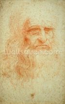 Self portrait, c.1512 (red chalk on paper) wall mural thumbnail
