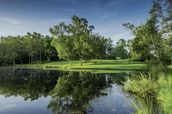 Dawn Across the Lake, Cottesmore Hotel, Golf & Country Club, West Sussex, England mural wallpaper thumbnail
