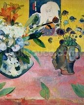 Flowers and a Japanese Print, 1889 (oil on canvas) wallpaper mural thumbnail