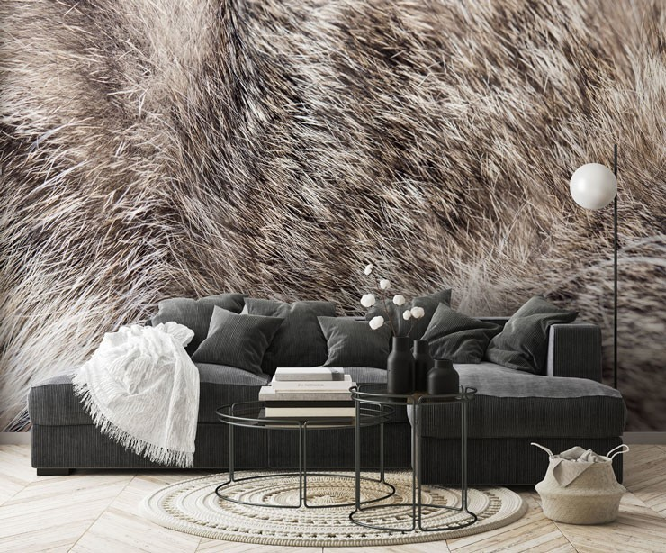 fur print of a cats fur wallpaper with black and white furniture