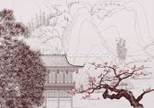 Delicate Chinese Landscape Illustration wallpaper mural thumbnail
