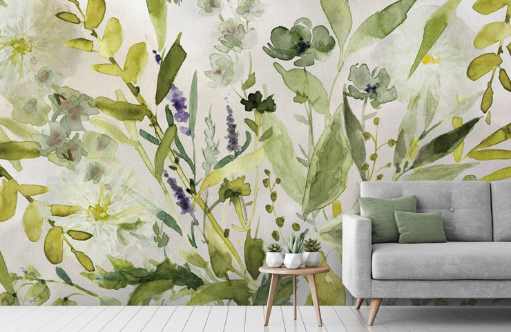 leafy green wallpaper in relaxing lounge