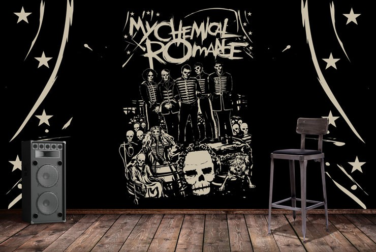 my chemical response black mural in music practice room