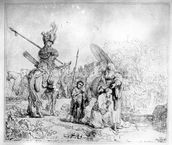 The Baptism of the Eunuch, 1641 (etching) mural wallpaper thumbnail