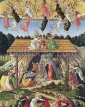 Mystic Nativity, 1500 (oil on canvas) wall mural thumbnail
