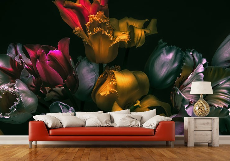bold colourful floral wallpaper in trendy living room