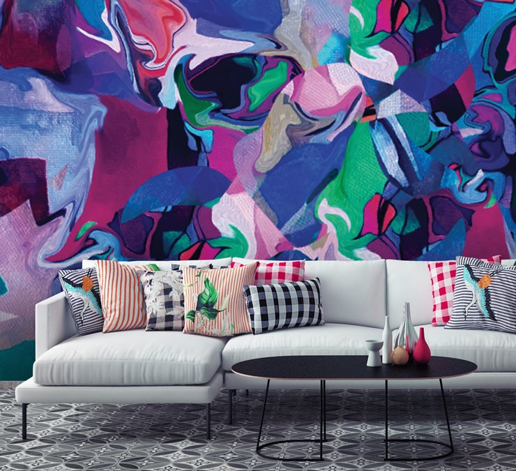 painterly wallpaper in modern living room