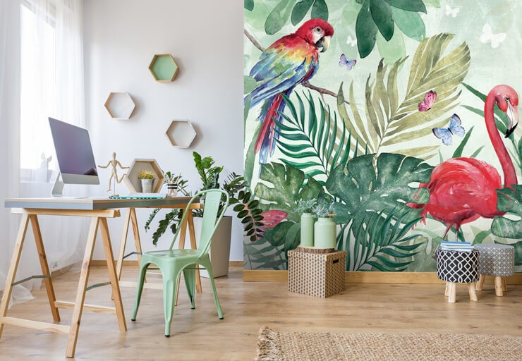 digital art of colourful pink flamingo and parrot in jungle wallpaper in trendy home office with sleek modern furniture
