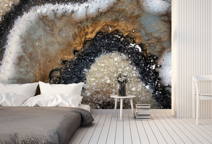 geode patterned mural in minimalist bathroom