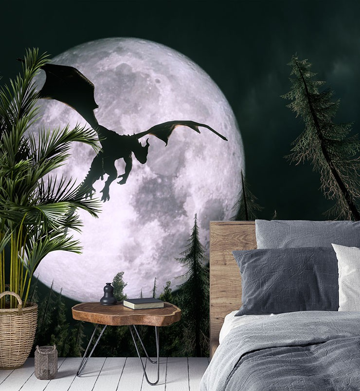 moon and dragon wall mural in grey bedroom
