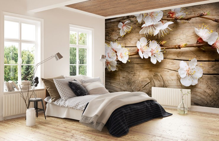 Cherry-blossom-on-wood-panels-in-bedroom