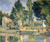 Jas de Bouffan, the pool, c.1876 (oil on canvas) wallpaper mural thumbnail