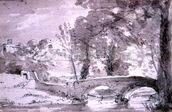Bridge with Trees and Buildings, at Haddon mural wallpaper thumbnail