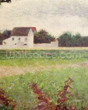 Landscape in the Ile-de-France, 1881-82 (oil on canvas) wallpaper mural thumbnail