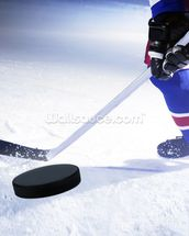 Ice Hockey Stick and Puck wallpaper mural thumbnail