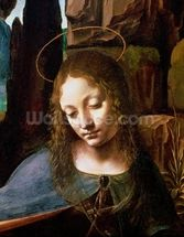 Detail of the Head of the Virgin, from The Virgin of the Rocks (The Virgin with the Infant Saint John adoring the Infant Christ accompanied by an Angel), c.1508 (oil on panel) mural wallpaper thumbnail