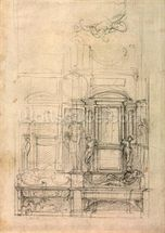 W.26r Design for the Medici Chapel in the church of San Lorenzo, Florence (charcoal) wall mural thumbnail