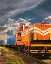 Orange Freight Train mural wallpaper thumbnail