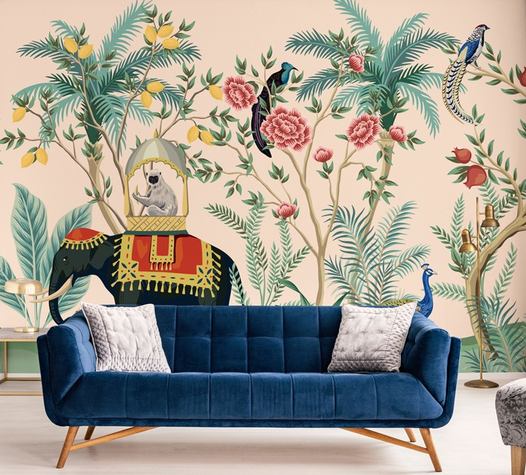 black elephant with red hat in tropical jungle with birds and monkey wallpaper with navy blue sofa