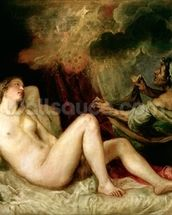 Danae Receiving the Shower of Gold (oil on canvas) wall mural thumbnail