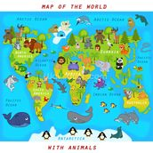 Map of the World with Animals wall mural thumbnail