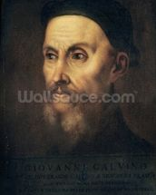 Portrait of John Calvin (1509-64) (oil on canvas) wall mural thumbnail
