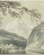 Near Grindelwald, c.1796 (blue & grey wash over graphite on paper) mural wallpaper thumbnail