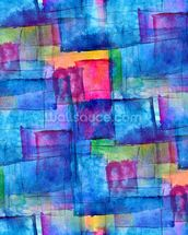 Blue Cubism mural wallpaper thumbnail