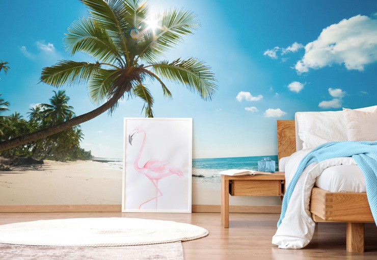 tropical beach wall mural in bedroom