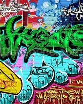 Graffiti Art Vector Background. Urban wall wallpaper mural thumbnail