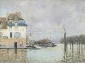 The Flood at Port-Marly, 1876 (oil on canvas) wallpaper mural thumbnail