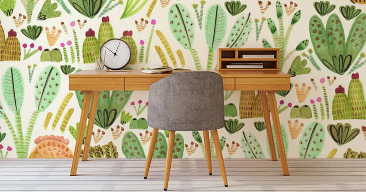 cacti painting wallpaper in home office